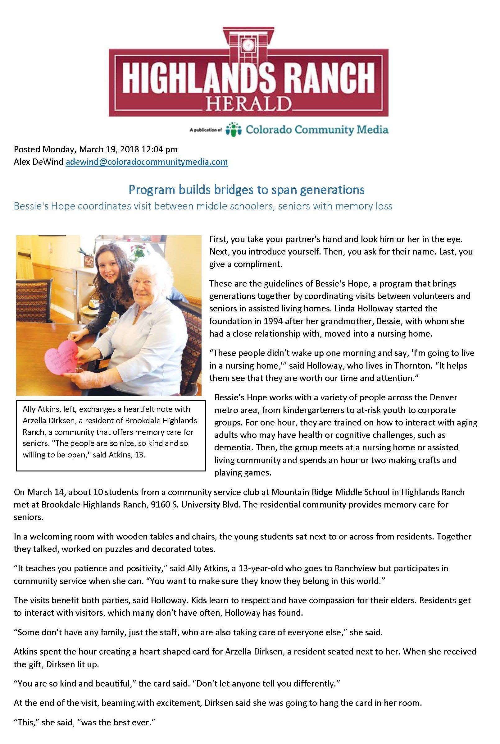 Highlands Ranch Herald - March 19, 2018 - Bessie's Hope